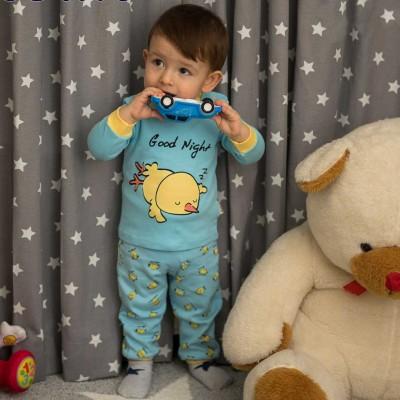 Good Night Civciv Baskılı Mavi  Pijama Takımı 3-6-9 Ay