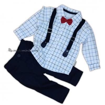 Kırmızı Papyonlu Kareli Gömlek Pantolon Takım (6/12 Ay)