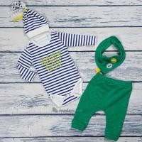 BABY BOY NAKIŞLI 4'lü Badili Takım :Yeşil (3-6 Ay)