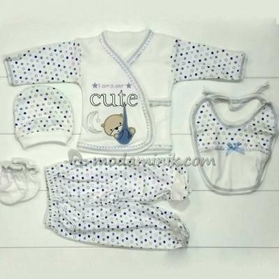 Cute kundak nakışlı erkek  bebek mavi 5'li Bebek Zıbın Seti