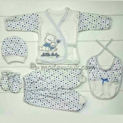 Yavrulu ayı nakışlı erkek  bebek mavi 5'li Bebek Zıbın Seti