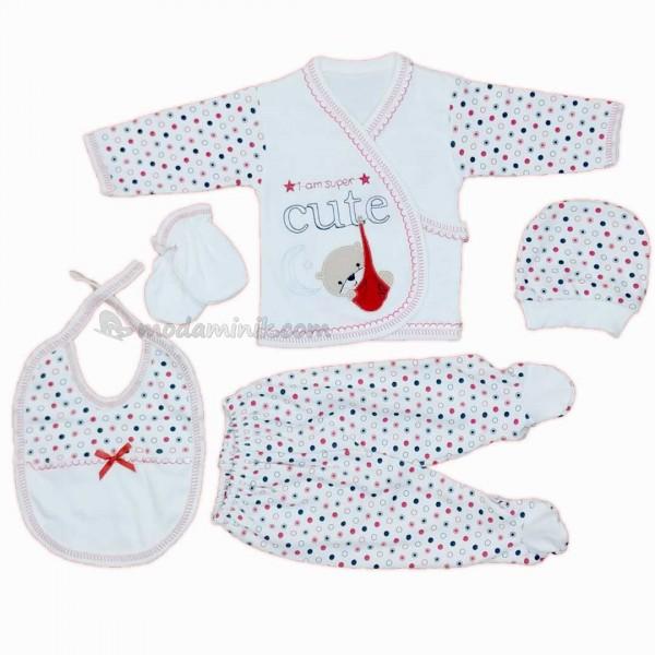 Cute kundak nakışlı kız&erkek  bebek kırmızı 5'li Bebek Zıbın Seti