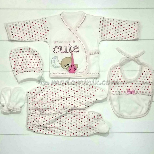 Cute kundak nakışlı kız  bebek pembe 5'li Bebek Zıbın Seti