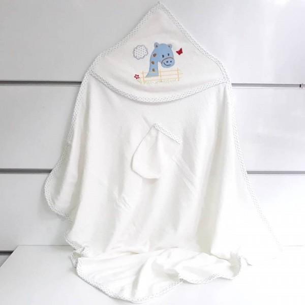 Zürefa Aplikli Biyeli Bebek Banyo Havlusu Mavi