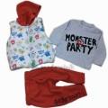 Monster Party Baskılı Yelekli 3'lü Takım  6-12-18 Ay