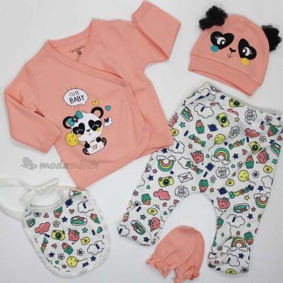 Pandalı Cute Baby 5'li Zıbın takımı