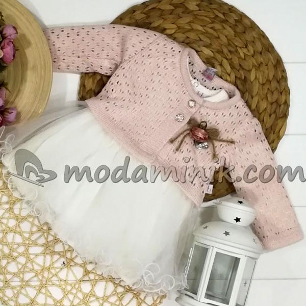 Triko Hırkalı Uzun Kollu 2'li elbise Pudra (9-18 Ay)