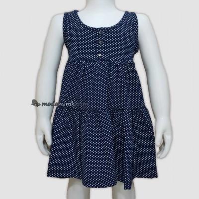 Puanlı Düğmeli Askılı Elbise LACİVERT (1/4 Yaş)