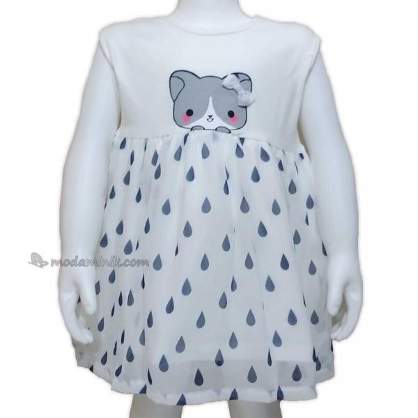 Yağmur Damlası Baskılı Kedili  Elbise (9-24 ay)