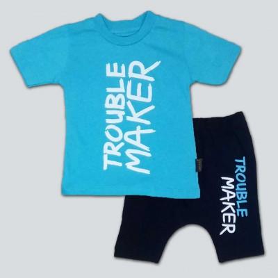 Trouble Maker baskılı mavi 2'Lİ TAKIM 9 ay/3 yaş
