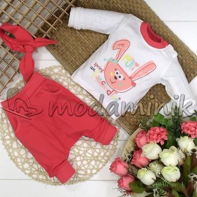 Mini Tavşan 3'lü Takım Nar Çiçeği 3-9 Ay